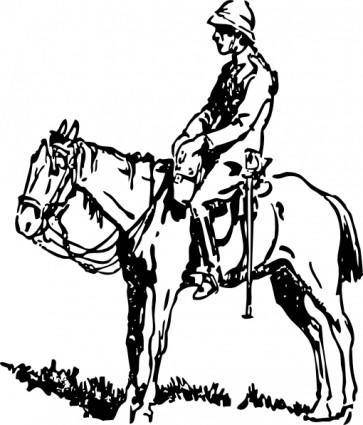 free vector Jockey On Horse clip art
