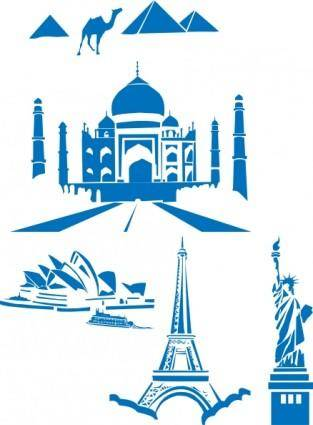 World Landmarks Egipt Paris Sydney Ny Taj Mahal clip art