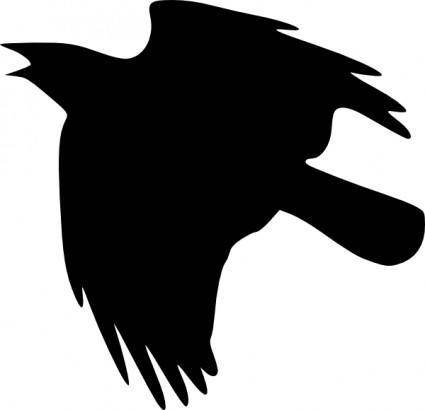 Crow Flying Up clip art