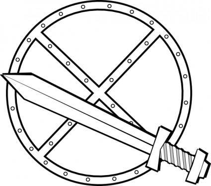 Jonadab Round Sword And Shield clip art