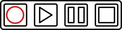 Tape Deck Control Buttons Outline clip art