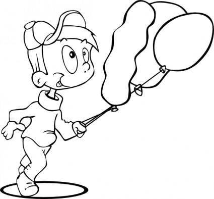 Outline Boy Running clip art