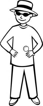 Spy Kid Standing Outline clip art