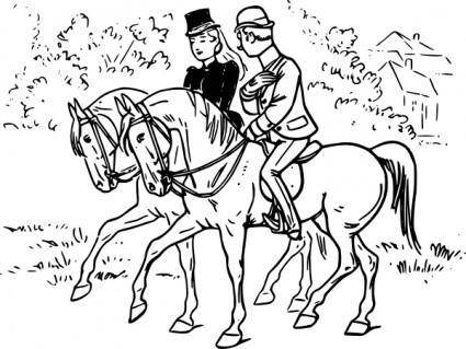 Couple Riding Horses clip art