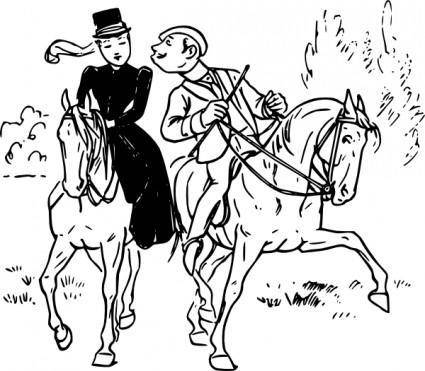 Couple Riding Horses clip art