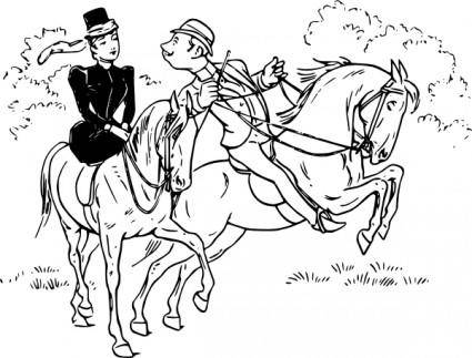 Riding Horses clip art