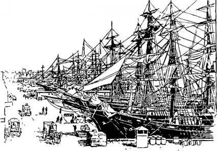 Ships On The Dock clip art