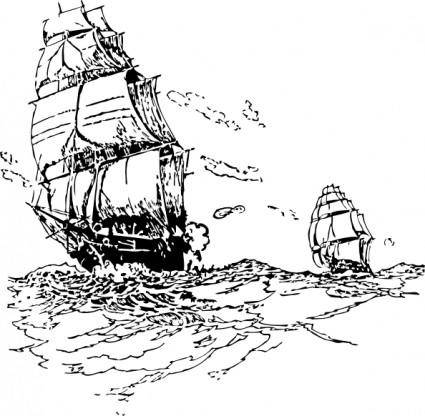 free vector Ships Chasing clip art