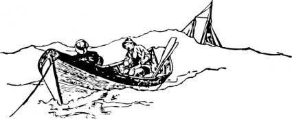 Small Rowing Boat With Fishermen clip art