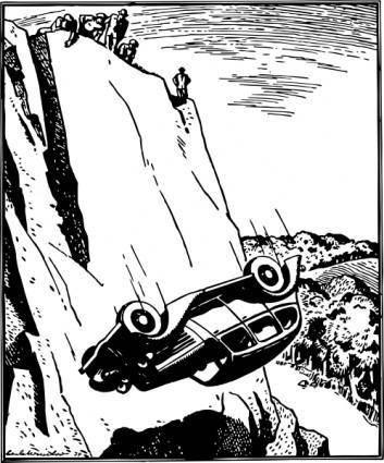 Car Flip Over The Cliff clip art