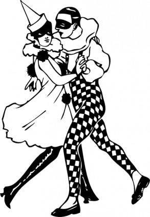 free vector Harlequin Dancers clip art
