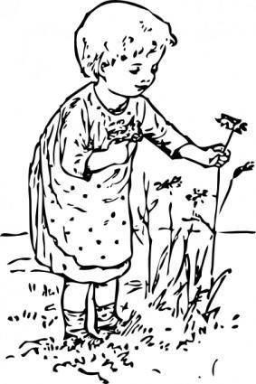 free vector Kid Picking Flowers clip art