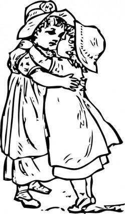 Two Kids Girls Hug clip art