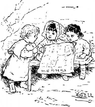 Children Reading Newspaper clip art