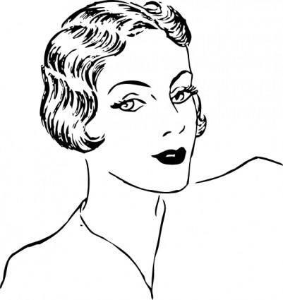 free vector Woman Bob Haircut clip art
