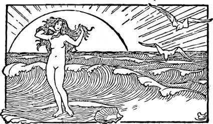 Venus And The Half Shell clip art