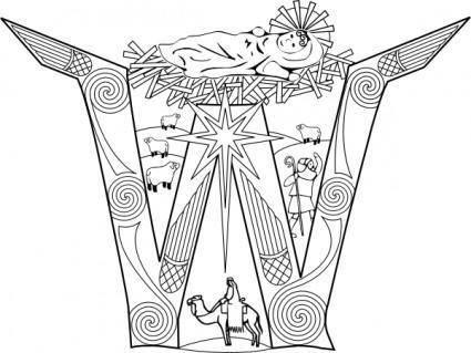 Initial Nativity Incarnation clip art