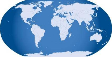Blue World Map clip art