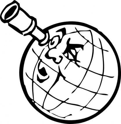 Planet With Spyglass clip art