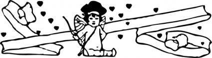Sitting Cupid clip art