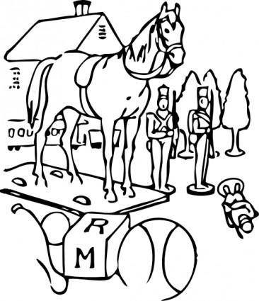 Horse Building Trees Toys Outline clip art