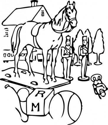 Horse Building Trees Toys Outline clip art