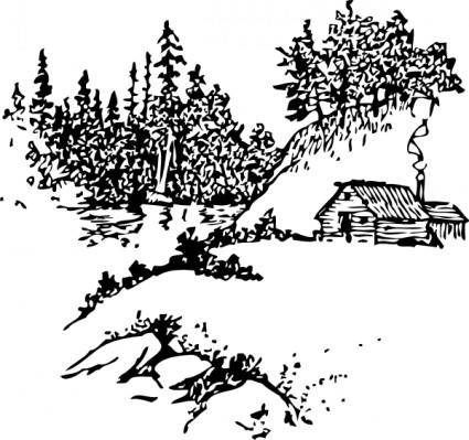 Cabin Along Stream clip art