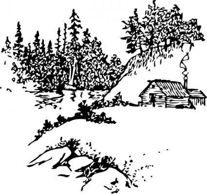 free vector Cabin Along Stream clip art