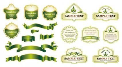 free vector Green ribbon label vector