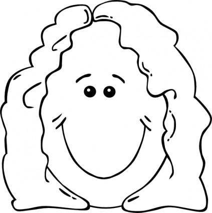 Lady Face World Label Outline clip art
