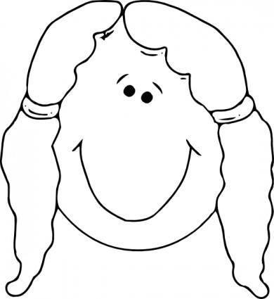 free vector Smiling Girl Face Outline clip art