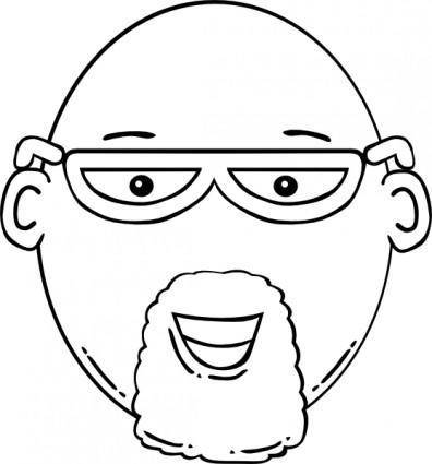Man Face World Label Outline clip art