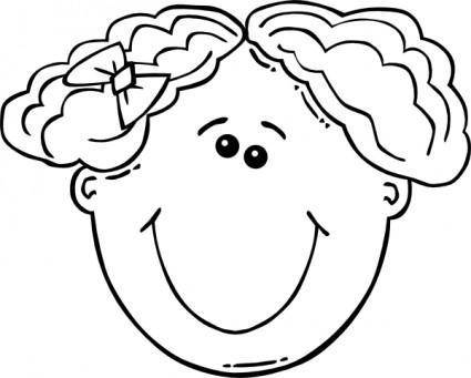 Girl Face Cartoon Outline clip art