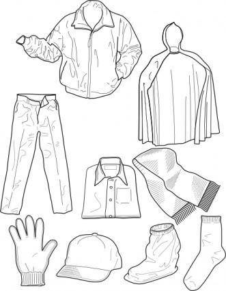 free vector Clothing Outline Socks Pants Jackets clip art