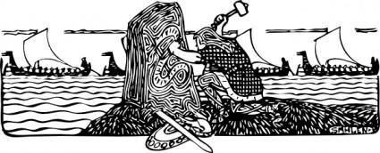 Viking Scene clip art