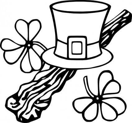 Hat And Shillelagh clip art