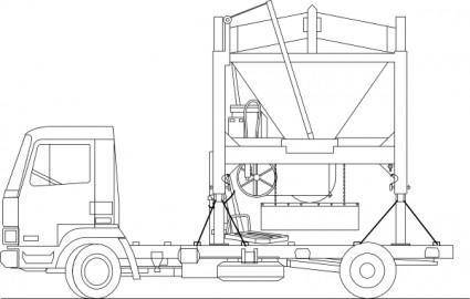Truck And Sandmixer clip art