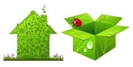 Green house and box vector