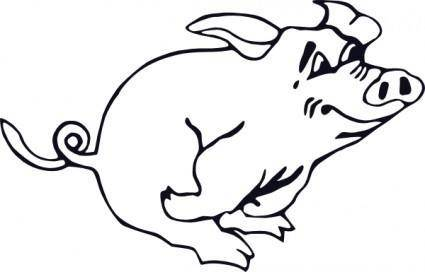 Outline Running Pig clip art