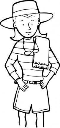 free vector Girl W Towel Outline clip art
