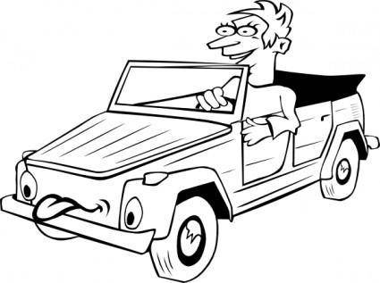 Boy Driving Car Cartoon Outline clip art