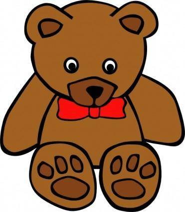 Simple Teddy Bear With Bow clip art