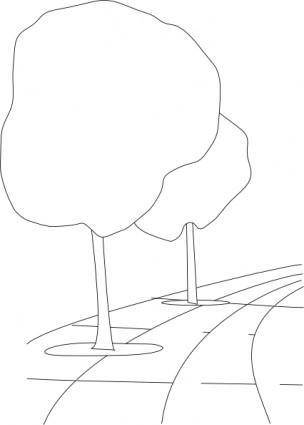Pavement Street Trees Outline 3d clip art