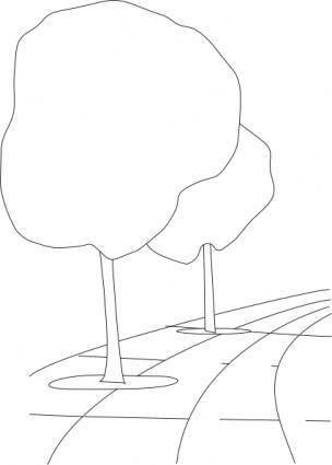 Pavement Street Trees Outline 3d clip art