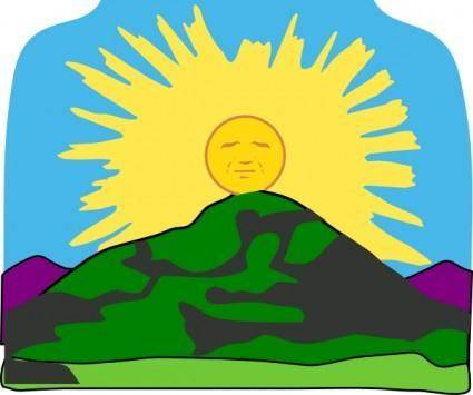 free vector Sun Rays Mountain clip art