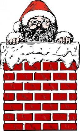 Santa In A Chimney clip art