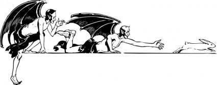 free vector Devils And Rabbit clip art