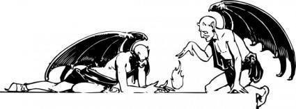 free vector Two Devils clip art