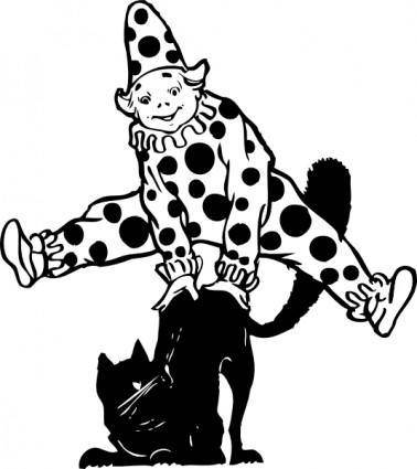 Clown Jumping Over Cat clip art