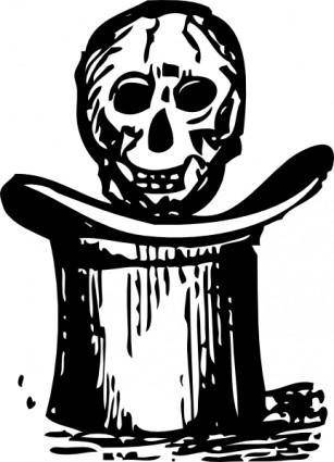 Skull Over Top Hat clip art